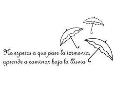 . Vinilo Textos y Frases de Motivación No esperes a que pase la tormenta, aprende a bailar bajo la lluvia 02844