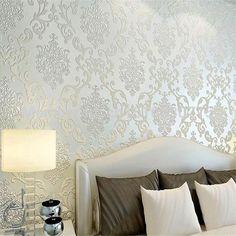 Henderson Interiors Chelsea Glitter Damask Wallpaper Soft Grey ...