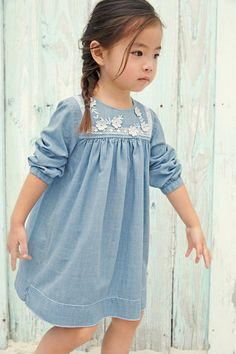 Buy Denim Lightweight Dress With Contrast Appliqué from the Next UK online shop Girls Casual Dresses, Little Girl Dresses, Trendy Dresses, Girls Denim Dress, Toddler Dress, Baby Dress, Toddler Fashion, Kids Fashion, Mode Jeans