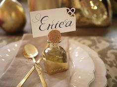 patron bottle - Hold your place cards in lavish liquor style with the diy Patron bottle place card holders. This diy is perfect for the holiday season and adds a. Creative Place Cards Wedding, Diy Place Cards, Wedding Place Cards, Cards Diy, Mini Liquor Bottles, Tequila Bottles, Name Card Holder, Place Card Holders, Gold Diy