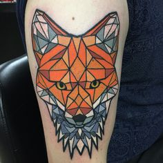 Geometric Fox Tattoo By Mike Decay Line work designed by Jaime Chevalier