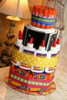 School Supply Cake. Ty's teacher doesn't do birthday treat this year. Maybe I'll make one of these.