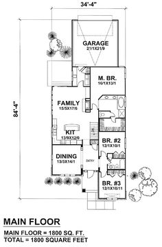 First Floor Plan of Craftsman   Narrow Lot   House Plan 88035