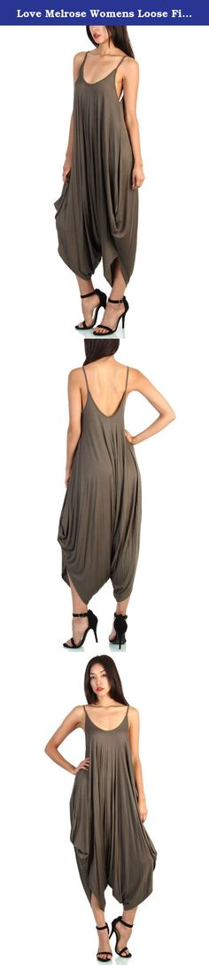 Love Melrose Womens Loose Fit Harem Spaghetti Strap Jumpersuit Olive Small. For those days that you want to look fabulous in no time, just step into the Love Melrose's Stylish Harem Jumpsuit! The premium woven fabric makes you feel very comfortable, a darted V neck bodice with sphaghetti straps that makes you look perfect. 95% Rayon 5% Spandex. Hand Wash Cold. Made in USA.