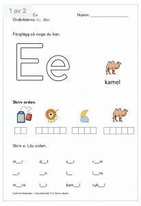 Vi arbetar med ordbilderna du och den och med bokstaven och bokstavsljudet Ee. Gå in på bloggen och skriv ut därifrån så blir det bättre kvalitet :)