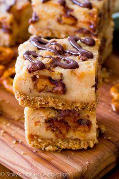 Peanut Butter Cup Pretzel Cheesecake Bars. Unbelievably good. sallysbakingaddiction.com