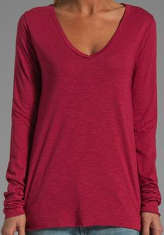 Jacksonville Long Sleeve Tee by American Vintage. I would add a lace camisole for more coverage.