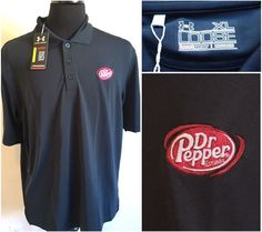 Mens Under Armour Dr Pepper Black Loose Golf Polo Shirt Size XL Made in PERU #UnderArmour #ShirtsTops