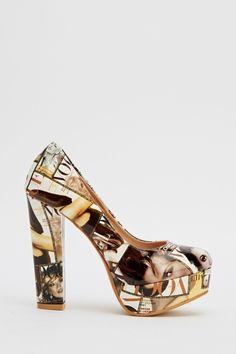 Magazine Print Platformed Heels - 4 Colours   #Heels #Shoes #Summer2016