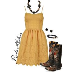A Little Past Little Rock by rodeo-chic on Polyvore, Old Gringo cowboy boots with dress, sundress, western