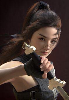Liu yifei likeness as Mulan (FIN), jung won Park Fantasy Women, Fantasy Girl, Martial Arts Women, Art Japonais, Warrior Girl, Military Women, Kendo, Action Poses, Mode Outfits