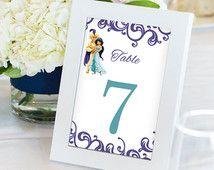 Aladdin y jazmín mesa números, tarjetas de mesa de boda Disney Disney bodas, 4 x…