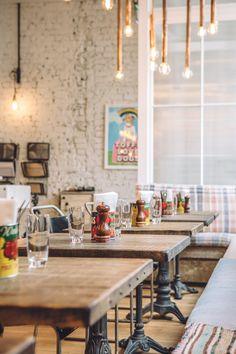 Interior shot of Cambridge St Cafe. Interiors by Justin Salisbury & Charlie Newey. Fabrics by Howe