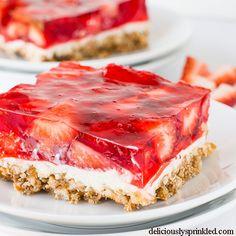 Strawberry Pretzel Bars Recipe - RecipeChart.com