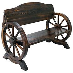 Wood Bench Patio Burnt Stained Outdoor Furniture Cart Wagon Wheel Garden Chair