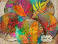 """Printable Collage Sheets digital download AUTUMN LEAVES 2.5"""" size circle images for Pocket Mirrors Magnets Paper Weights. ArtCult designs"""