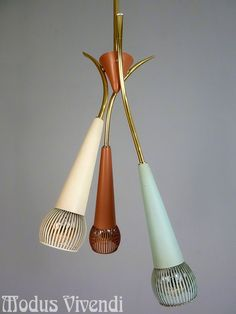 Rare 3 farbige Messing Sputnik Tüten Deckenlampe Vintage 50er 50s lamp Stilnovo  | eBay