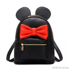 Lovely Cartoon Bear Red Bow Big Ear College Backpack #bow #backpack #college