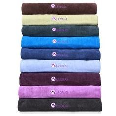 Aurorae Micro-Fiber Yoga Towel is eco-safe, hygienic and super absorbent. Great for hot yoga, provides slip-free surface. Is available in 9 soothing colors to fit your style. Dries quickly.