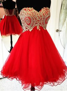 Gold Lace Appliques Short Red Homecoming Dresses 2018