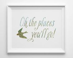Baby Gift Kids Gift for Girl Oh the Places by SweetPeonyPress
