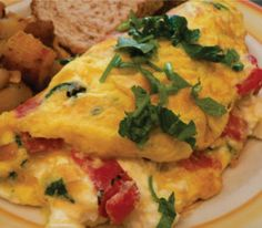 Wedding Bridesmaid Brunch. Luncheon, Breakfast Buffet. Oven cooked omelet with sweet pepper.