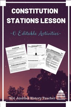 Want to get your students out of their seats? This United States Constitution stations lesson is broken into six different activities designed to get your students engaged in the study of the Constitution. This is a print and use stations lesson! No need to modify unless you want to :) The class period goes so fast with stations!  #government #civics #notanotherhistoryteacher