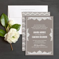 Elegant Noveau Wedding Invitations by Ellinée -really love this site for wedding design inspiration!