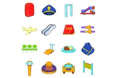 Airport icons set, cartoon style @creativework247