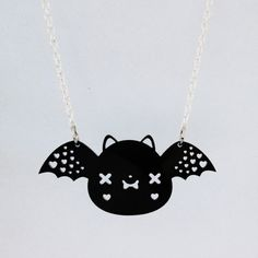Bat Necklace Cute Kawaii Bat Acrylic Charm with by emandsprout, $12.00
