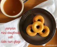 Mini Pumpkin Doughnuts with Cider-Rum Glaze via @rachelcooksblog