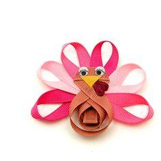 Pink Turkey Hair Bow, Girly Turkey Clip for Baby, Glam Turkey Hair Clip Toddler Hair Clip for Girls Children Holiday, Handmade