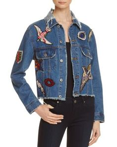 Patched to perfection for our exclusive collaboration, Sunset & Spring's whimsical denim jacket flaunts a cropped-and-frayed fit with personality-packed embellishments that pay homage to the season's Denim Jacket Patches, Denim Jacket With Dress, Cropped Denim Jacket, Patched Denim, Summer Denim, Spring Summer, Shops, Embellished Jeans, Denim Trends