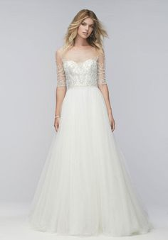 Wtoo Brides gown with bateau neckline, a-line silhouette, tulle skirt, and beaded embellishments I Style: Nelly 16624 I https://www.theknot.com/fashion/nelly-16624-wtoo-brides-wedding-dress?utm_source=pinterest.com&utm_medium=social&utm_content=aug2016&utm_campaign=beauty-fashion&utm_simplereach=?sr_share=pinterest