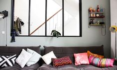 Glass Walls: Let the Light in - The Socialite Family Socialite Family, Black Windows, Decoration, House Colors, Sweet Home, Gallery Wall, Cushions, Colours, Vintage