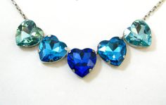 Ocean Blue Hearts Necklace  5 Large Crystal by pinkavenger on Etsy