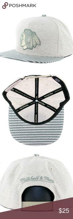 Mitchell & Ness Chicago Blackhawks Snapback Hat Color: Oatmeal Heather Snapback Mitchell & Ness Accessories Hats