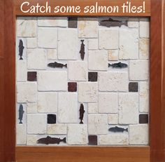 "Add some of our 6"" and 4"" salmon tiles to your next tile project! These little slate fish can spruce up a backsplash, fireplace, or backsplash. Mosaic Tiles, Backsplash Tile, Shower Tile Designs, Patio Tiles, Small Tiles, Tile Projects, Unique Colors, Tile Fireplace, Shapes"
