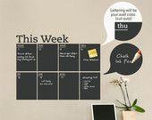 Calendario settimanale Planner lavagna - vinile moderno Wall Decal