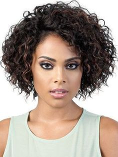Rox Human Hair Blend Wig by Motown Tress Short Curly Hair, Curly Hair Styles, Natural Hair Styles, Short Curly Weave, Box Braids Hairstyles, Black Hairstyles, Curly Haircuts, 1930s Hairstyles, Female Hairstyles