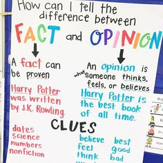 How can I tell the difference between Fact and Opinion anchor chart {from The Designer Teacher}