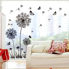 Theme Decal (TM) 165*130cm Black Dandelion Butterfly Wall Stickers Removable Home Decals PVC Art Decoration Mural Wall Decal Home Decor Bedroom Sitting Bathroom Kitchen Bathroom Room Sofa TV Background Vinyl DIY Art Deca