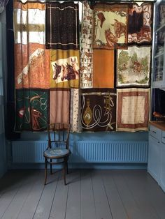 Image of Vintage Scarf Curtains - Horse and Rider (free shipping)