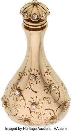 Estate Jewelry:Other , Retro Diamond, Gold Perfume Bottle, John Rubel. ...