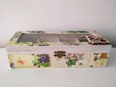 This item is unavailable Wooden Tea Box, Wooden Boxes, Decorative Boxes, My Etsy Shop, Unique Jewelry, Handmade Gifts, Floral, Check, Pattern