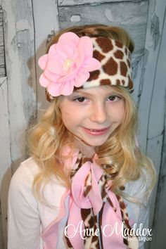 Giraffe and Pink Curly Scarf and Ear Warmer by AnneMaddoxBoutique