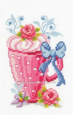 Buy Mug with Flowers Cross Stitch Kit Online at www.sewandso.co.uk