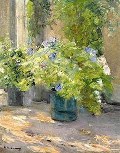 ALONGTIMEALONE Max Liebermann (1847-1935) Blumentöpfe vor dem Haus