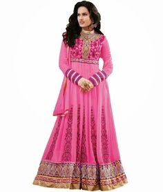 Keep Ahead In #Style And #Fashion With Pink Zari Work Anarkali Suit. Check it out http://www.ethnicstation.com/salwar-kameez/anarkali