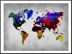 World Watercolor Map 12 Prints by NaxArt - AllPosters.co.uk